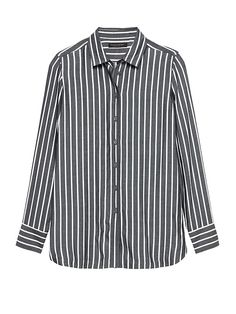 a695990778f Banana Republic Petite Parker Tunic-Fit Wide Stripe Shirt