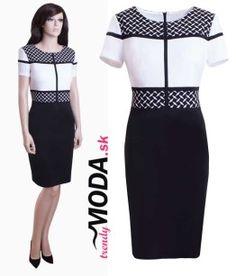 Elegantné bielo-čierne šaty s efektným materiálovým a farebným členením - trendymoda.sk