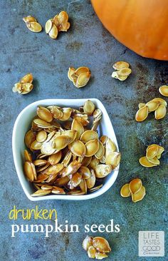 Drunken Pumpkin Seeds | by Life Tastes Good are made with Jack Daniels Whiskey, bacon drippings, brown sugar and salt. This combo makes a sweet and salty healthy snack you'll have a hard time putting down! #PumpkinWeek #HealthySnack