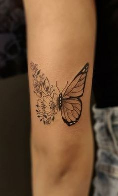 Butterfly With Flowers Tattoo, Butterfly Hand Tattoo, Butterfly Tattoo Meaning, Butterfly Tattoos For Women, Cute Tattoos For Women, Shoulder Tattoos For Women, Wrist Tattoos For Women, Butterfly Tattoo Designs, Discreet Tattoos For Women