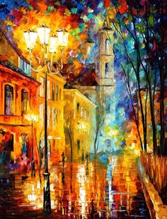 CITY OF ANGELS - Original Oil Painting On Canvas By Leonid Afremov