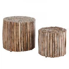 Beistelltisch Tree Trunk II (2-teilig) - Teakholz massiv