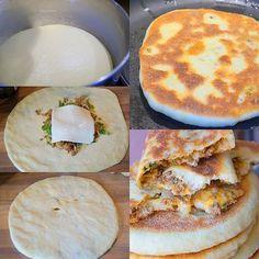 Bouchiar chiar bouchiyar pain berbère farci à la viande hachée et au fromage un délice .