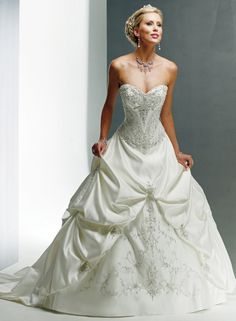 A-Line: Wedding Dresses With Color Accents, Charming Satin Strapless Wedding Gown with Embellished Embroidery Accented and Sweetheart Neckli...