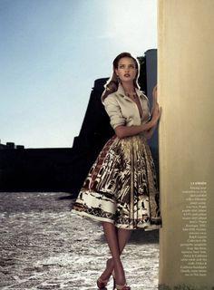 vogueandcoffee:    I love a circle skirt…Natalia looks flawless in Prada  girlofthesun:    Natalia Vodianova photographed by Mert & Marcus  Styled by Grace Coddington