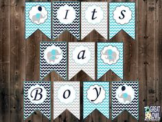 Elephant Baby Shower Banner Baby Boy Elephant by GreatOwlCreations