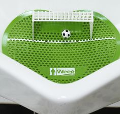 The Weee Urinal Games Company brings a fun twist to any bar, restaurant, hotel or office restroom. Keep your establishment clean and wow your patrons with this exciting new product. The Weee Soccer is a sure-fire crowd pleaser for this year's World Cup. Don't let your urinal go naked this soccer season!    2-Pack (includes 2 deodorizing mats, 2 soccer net sets and 1 funny bathroom sticker): $19.99