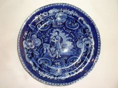 Clews Historical Blue Peace and Plenty Plate- RARE