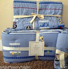 POTTERY BARN KIDS RYDER TODDLER QUILT + CRIB BUMPER NEW TRAIN BLUE BABY NURSERY