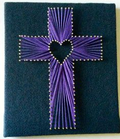 "Back by popular demand!! This cross string art is perfect for any home or even church!  The wood is covered with a black felt background to allow the colors to stand out and look brilliant as it hangs on your wall!  It measures 10"" by 12"". There is no need to frame this! It is about 1/2 inch ..."