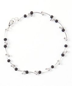 Look what I found on #zulily! Silver & Black Bead Ball Anklet #zulilyfinds