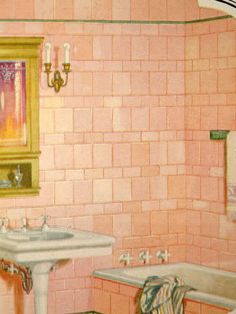 The tile work and vintage bathtub knobs are a wonderful touch in this drawing of this Vintage Bath.The sconces and gilded mirror and shelf below are very elegant.