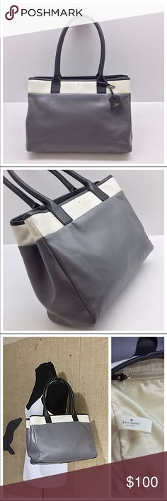 WEEKEND SALE!! GUC gray Kate Spade bag - large Gently used, fits a large laptop and other stuff in other compartments. 100% authentic & genuine leather. Very  practical & classy! TV $200 kate spade Bags