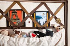 Postcard board features some vintage finds and my toys fit in a nice area too! http://montecristotravels.com/a-travel-dogs-room-revealed/