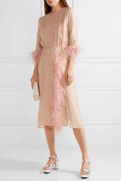 Prada blush silk-georgette dress