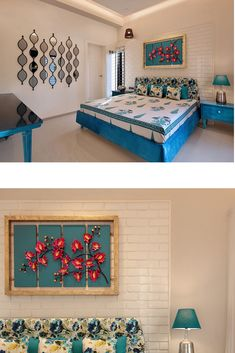A traditional Indian bedroom with coastal decor touches. Block print bedsheet with matching blue bed and side tables complete the decor of this room. Exposed brick head board and a mirror gallery wall are the highlights here. Decor, Indian Wall Decor, Indian Room Decor, Home Room Design, Indian Bedroom Decor, Living Decor, Pinterest Room Decor, Home Decor Furniture, Bedroom Wall Designs