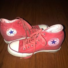1ea537e2577 Shop Women's Converse Red size 7 Shoes at a discounted price at Poshmark.  Description: Faded Red All Star converse Wedges.