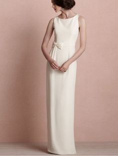 Satin Bateau Neckline Sheath Wedding Dress with Bowknot in the waist - Bridal Gowns - RainingBlossoms