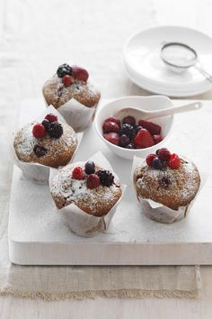 Organic Mixed Berry Buttermilk Muffins   #CreativeGourmet #recipe