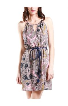 Cross Front Paisley Dress With Belt