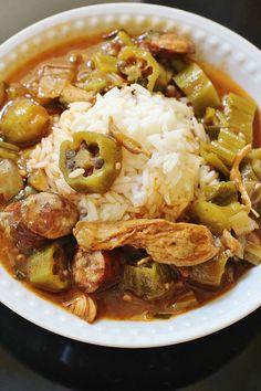 Turkey and Sausage Gumbo.  Turkey  and smoked  sausage in a stock with added roux (gravy) and vegetables served over rice. Change up the protein or type of sausage to match your taste preferences.