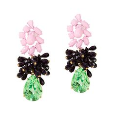 J Crew Mixed Media Bead Crystal Drop Pink Green Statement Earrings Jcrew Earrings, Statement Earrings, Women's Earrings, Trendy Accessories, Jewelry Accessories, Women Jewelry, Crystal Drop, Crystal Beads, Jewelry Box