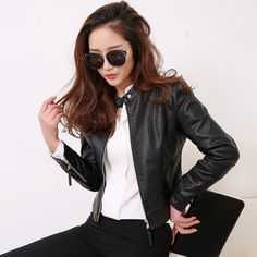 Cheap rivet stud, Buy Quality motorcycle pink directly from China rivet cap Suppliers: FTLZZ European Style O Neck PU Leather Jacket New Fashion Motorcycle Leather Outwear Women Slim Biker Coat Basic Streetwear Faux Leather Jackets, Pu Leather, Black Leather, Leather Collar, European Fashion, European Style, Jackets For Women, Clothes For Women, Women's Jackets