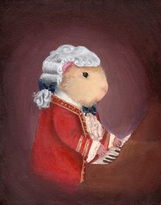 Guinea Pig Mozart Art Print via Etsy. - Who knew that a guinea piglet prodigy would turn into one of the most popular classical composers of all time? Here we find Wolfgang Amadeus Mozart seated at the keyboard in Vienna. Pig Character, Cute Guinea Pigs, Pig Art, Flying Pig, Diy Canvas, Classical Music, Retro, Decoupage, Framed Art Prints