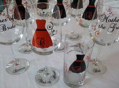 9 Bridesmaids gift wine glasses Personalized by WaterfallDesigns, $108.00