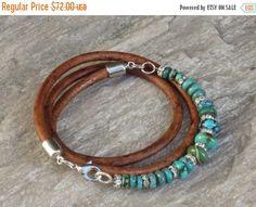OP verkoop Boho Chic wikkel echte Turquoise kralen en Crystal Triple leder armband