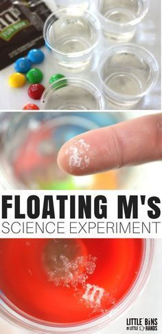 The floating M candy science experiment is easy quick and pretty cool! We went crazy with the candy science candy STEM and candy math activities this year. We have tons of holiday candy leftover and we can totally use it for fun science and STEM instead. Easy Science Experiments, Science Activities For Kids, Science Lessons, Teaching Science, Science Fun, Summer Science, Stem Activities, Easy Science Fair Projects, Science Ideas