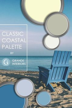This classic coastal palette is perfect for a modern space. Creating a calm and serene atmosphere with this palette will make your living spaces feel peaceful and relaxing, Shades of blues, grays, pale yellows, and neutrals are the perfect combination for creating a classic coastal interior. Coastal Color Palettes, Coastal Colors, Coastal Decor, Coastal Interior, Interior Paint Colors, Paint Colors For Home, House Colors, Interior Design, Paint Companies
