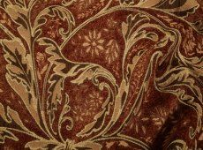 chenille tapestry in sienna, red, and beige 41yds @ $49/yd