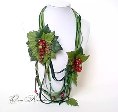 Unique Green Genuine Leather Red Currant by FeltSilkArtGift
