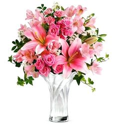 Mother's day flower delivery in USA to convey your love towards your mom. Order mothers day flowers online only from giftblooms to make delivery at your mom's place. Choose best flowers for mom and send online. Pink Flower Bouquet, Beautiful Bouquet Of Flowers, Floral Bouquets, Amazing Flowers, Flower Vases, Flower Arrangements, Beautiful Flowers, Wedding Flowers, Lily Bouquet