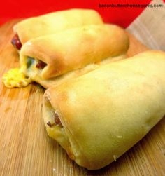 Bacon, Butter, Cheese & Garlic: Sausage & Jalapeno Kolaches  (Kolaches, famous here in Texas.. if you've never had one, think pigs in a blanket with sausage) SOOOOO good!!