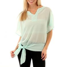 Plus V-Neck Sheer Top with Side Tie mint paired with a white tank top..