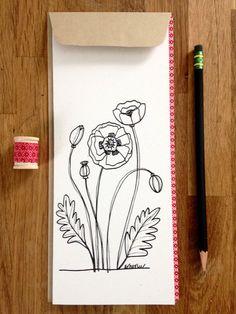 Poppy Hand Drawn Card Blank Inside Original by ArborLeeStudio