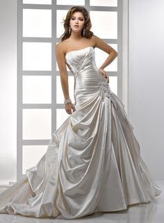 Maggie Sottero's Rebecca in soft shimmer satin. I'm really liking the Alabaster color.