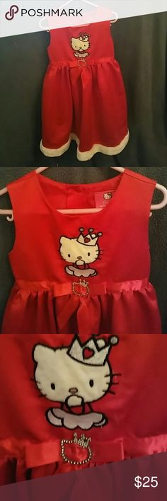 Formal Hello Kitty dress This dress is so cute. Sleeveless red satin with Hello Kitty with tiara on top,red ribbon in front has a little Hello Kitty in the middle,bottom has a white faux fur that goes around the whole dress. Your princess will fall in love with this princess Hello Kitty dress. Dresses Formal
