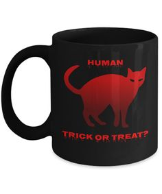 Gift Mugs, Gifts In A Mug, Cat Hacks, Red Cat, Cat Mug, Novelty Gifts, Halloween Gifts, Trick Or Treat, Treats