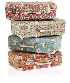Liberty Print Suitcases. I want one so much..
