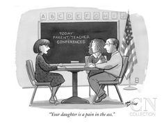 """""""Your daughter is a pain in the ass."""" - New Yorker Cartoon Poster Print by Harry Bliss at the Condé Nast Collection"""