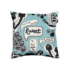 """Pillow cover """"Birds Tweet By.""""    by 1984 For You"""