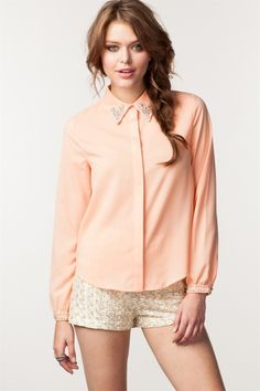 Women's Jeweled Collared Shirt | Jeweled Collars | Pinterest ...