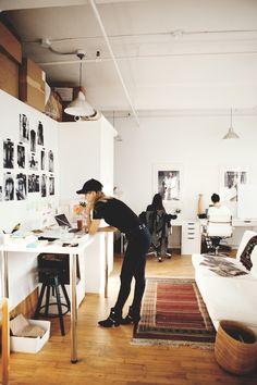 Inspiring studio work spaces to aid reflection and motivation for Karen Gilbert. Workspace Design, Office Workspace, Home Office Design, Office Decor, Loft Studio, Dream Studio, Interior Architecture, Interior Design, Studio Interior