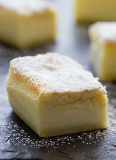 Lemon Magic Cake - If you like custard you are going to love this cake. The bottom layer tastes like hardened custard, the middle later is gooey custard and the top layer is like fluffy cake. The lemon helps makes it all taste light and fresh. Lemon Desserts, Lemon Recipes, Easy Desserts, Sweet Recipes, Delicious Desserts, Baking Recipes, Cake Recipes, Dessert Recipes, Yummy Food