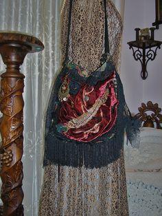 Gypsy Fringe Bag handmade romantic bohemian by Dede of GrandmaDede