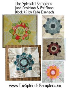 49 Splendid Sampler Karla Eisenach block multi - my block bottom right (still needs stitched embellishment)