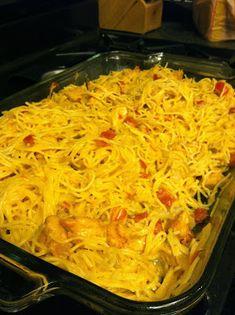 Chicken spaghetti (no Velveeta or cream-of soup) -- very good! -DC